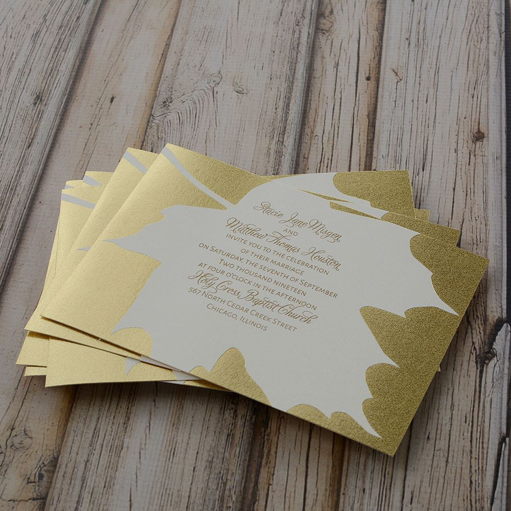gold leaf foil invitation