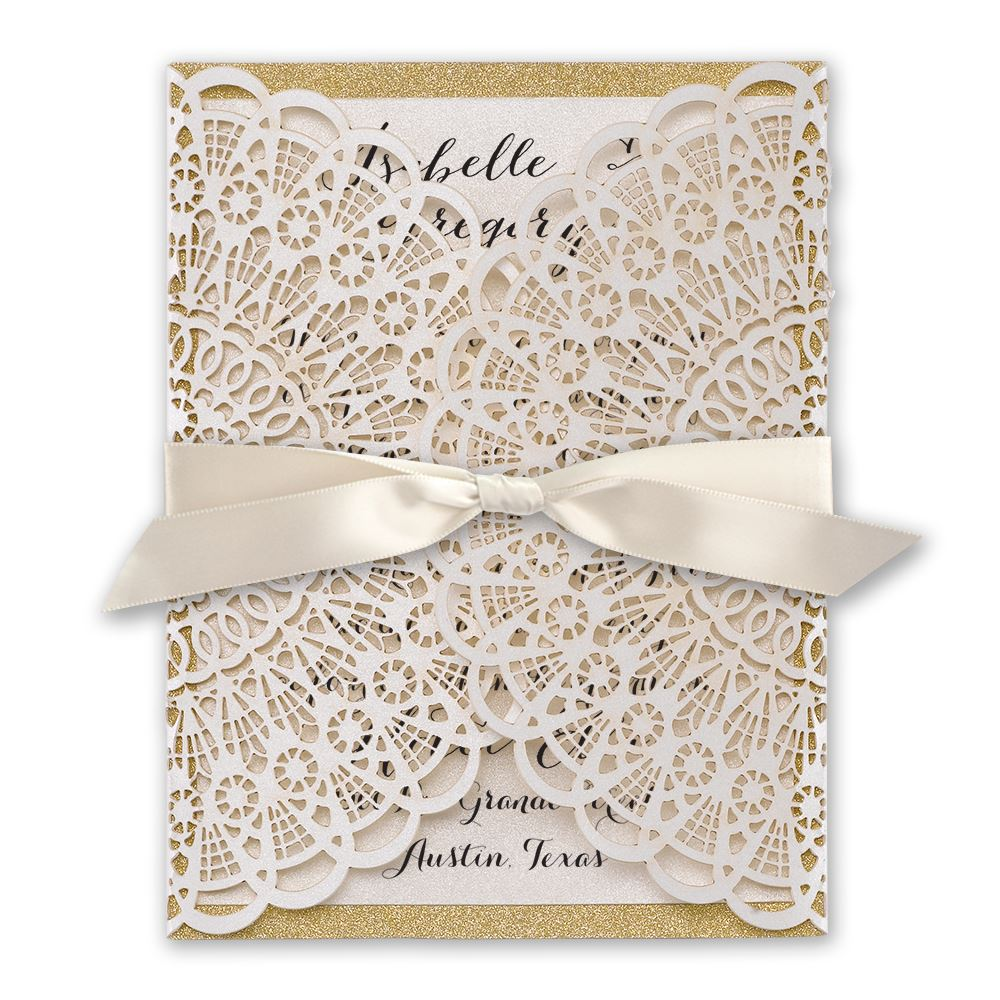rustic glam laser cut and real glitter invitation invitations by dawn