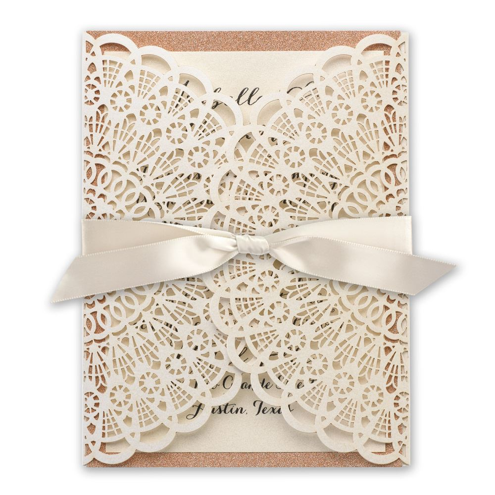 boho wedding invitations rustic glam rose gold laser cut and real glitter invitation