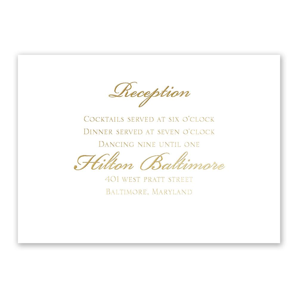 gilded beauty gold foil reception card invitations by dawn