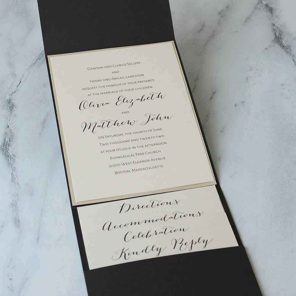 Luxe Elegance Black Pocket Invitation   Invitations By Dawn