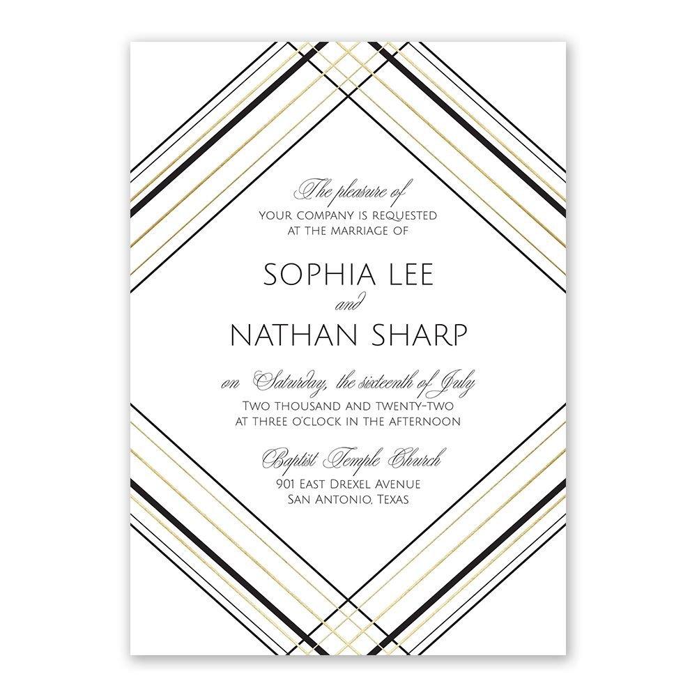 wedding invitations sharp lines foil invitation - Wedding Invitation Card