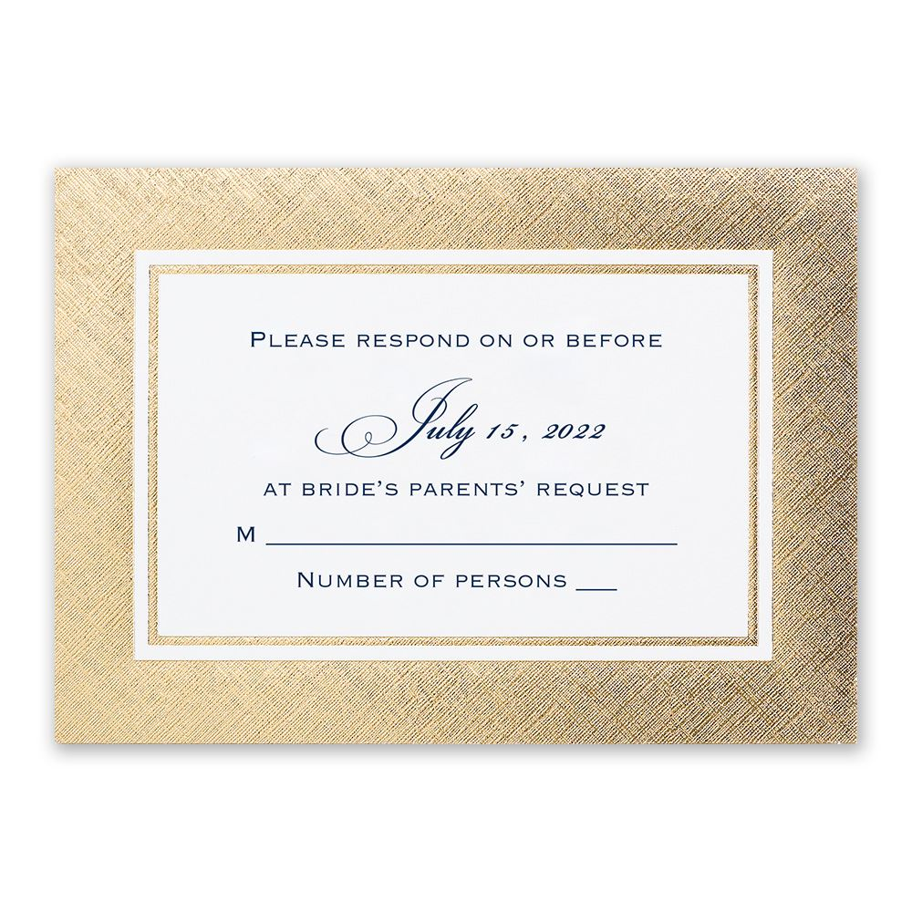 golden grandeur response card invitations by dawn