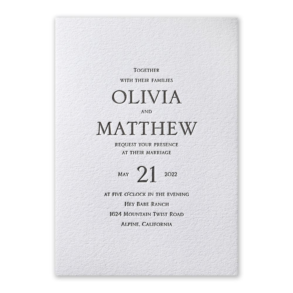 Gallery Minimalist Wedding Invitations: Modern Minimalist Letterpress Invitation