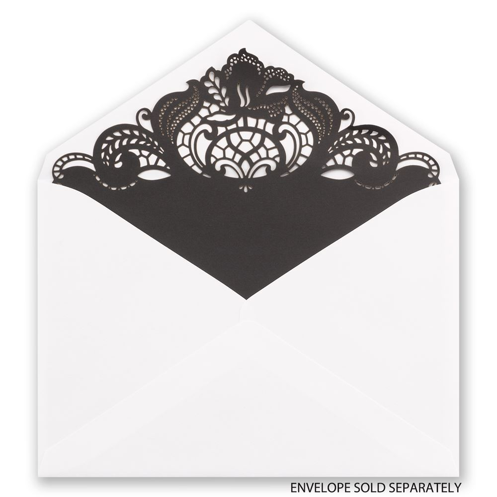 Black Filigree Laser Cut Envelope Liner | Invitations By Dawn