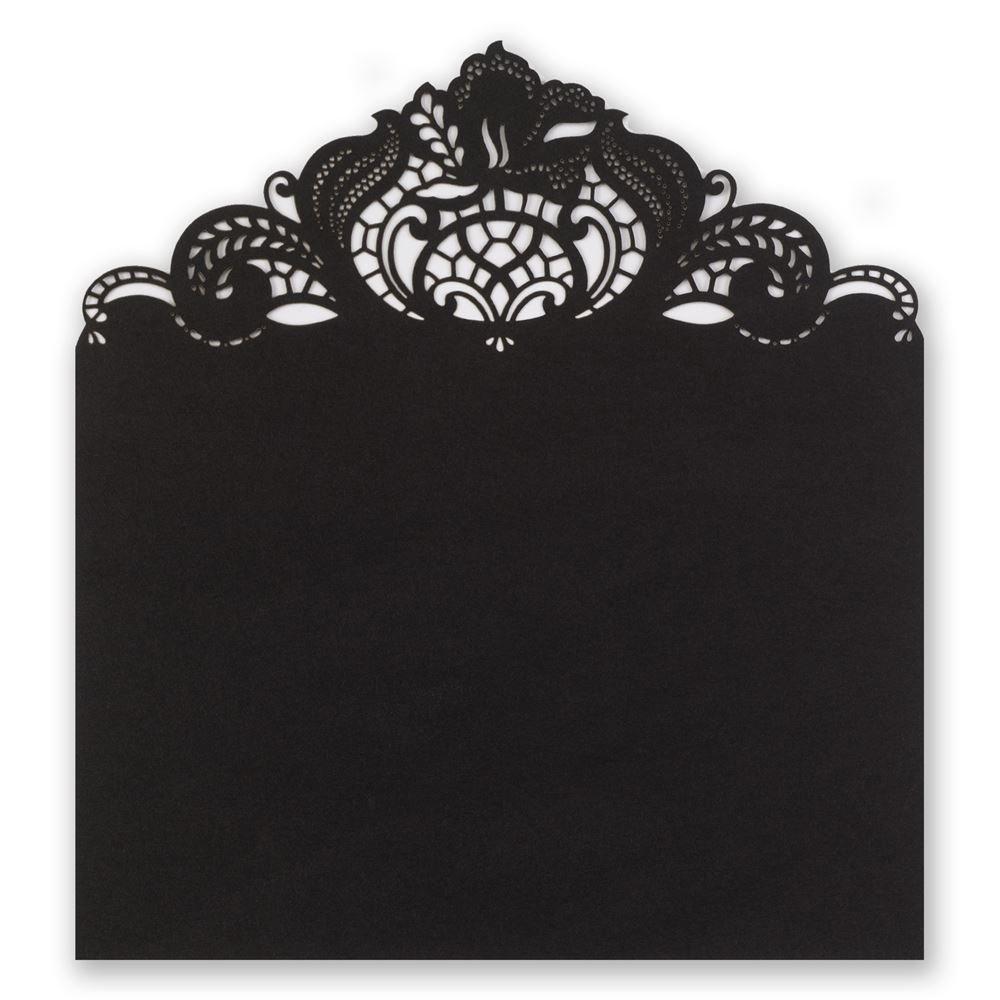 Black Filigree Laser Cut Envelope Liner