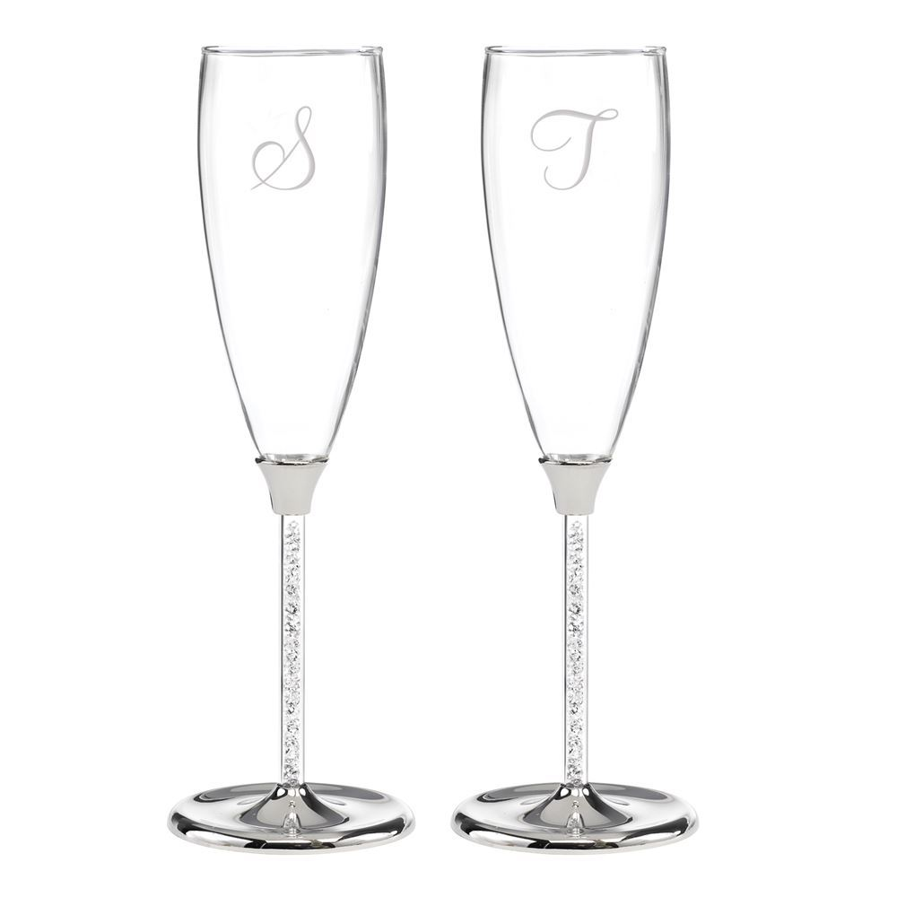 Crystal Filled Wedding Toasting Flutes | Invitations By Dawn