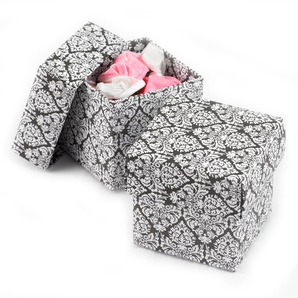Black And White Damask Favor Boxes : Black and white damask twopiece favor boxes invitations