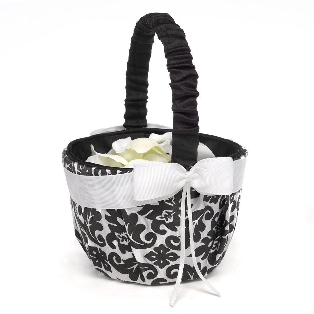 Flower Girl Baskets Black : Elegant black damask flower basket invitations by dawn