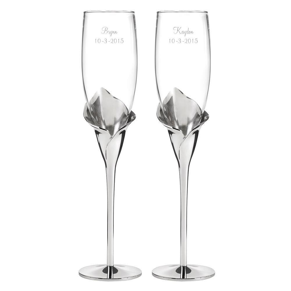 Silver Calla Lily Toasting Flutes | Invitations By Dawn