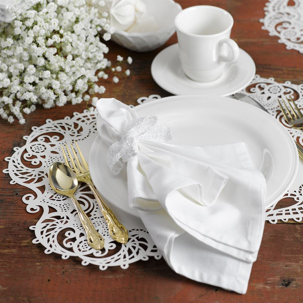 laser cut placemats white shimmer