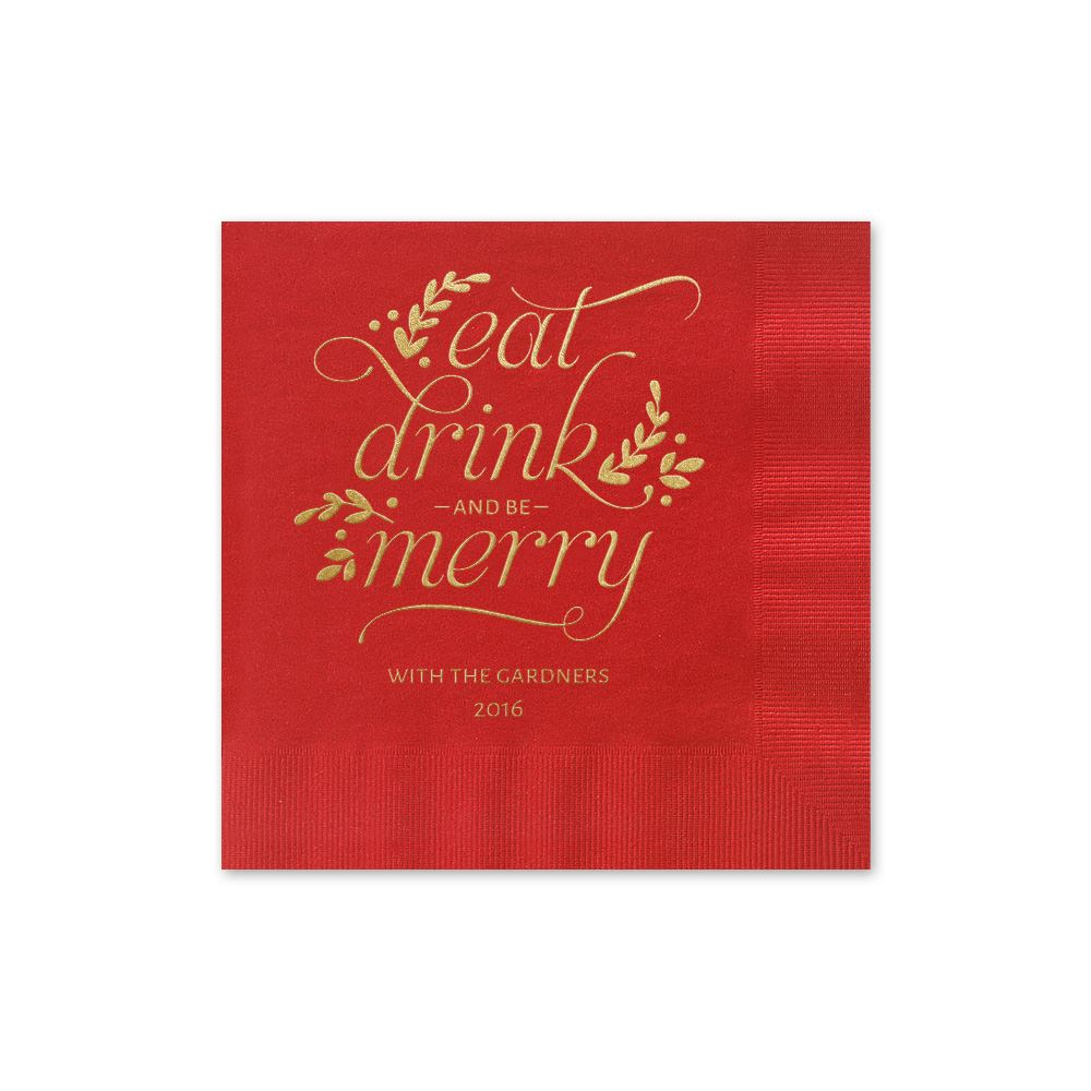 Eat Drink Merry Holiday Beverage Napkin   Invitations By Dawn