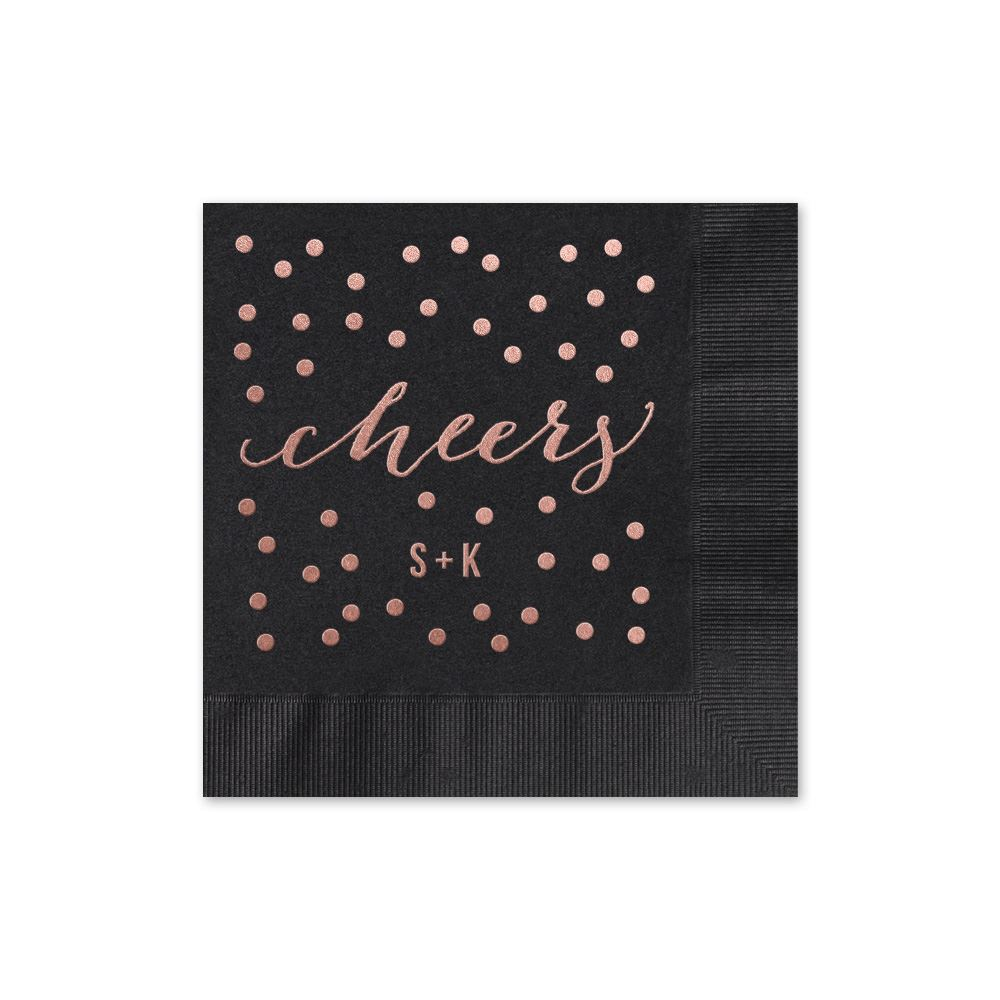 Black Cocktail Napkins : Cheers foil cocktail napkin invitations by dawn